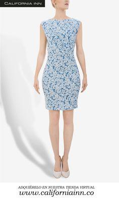 Vestido en Jaccard estampado color azul claro. Tallas: S-M-L