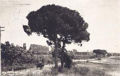 Via Appia Nuova, Acquedotto di Claudio e Carro a Vino Anno: cartolina viaggiata nel 1931