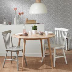 Tavolo rotondo vintage per sala da pranzo in massello di quercia D 100 cm
