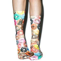 Odd Sox Doughnut Flavors Socks ($15) ❤ liked on Polyvore featuring intimates, hosiery, socks, print socks, patterned hosiery and patterned socks