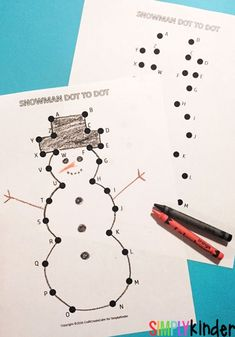 Easy snowman dot to dot! Great  number review and counting for kindergartners!