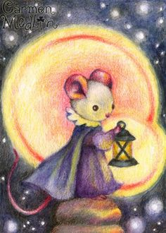 Magical Night - cute fantasy mouse colored pencil art by Carmen Medlin