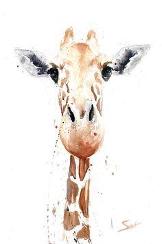 Giraffe painting giraffe watercolor animal art by signedsweet girafas, técn Giraffe Decor, Giraffe Art, Giraffe Kunst, Art Inspo, Painting Inspiration, Watercolor Animals, Watercolor Print, Easy Watercolor, Watercolor Paper