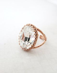 Rose Gold Swarovski Crystal Cocktail Ring - Crystal Clear Oval Crystal Rose Gold Adjustable Ring, simple, sparkly, chic, elegant fashion