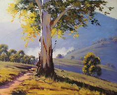Hilly Australian Landscape Art Print by Graham Gercken Watercolor Landscape, Landscape Art, Landscape Paintings, Watercolor Paintings, Contemporary Landscape, Oil Paintings, Watercolour, Pastel Art, Australian Artists