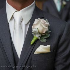 Groom Boutonniere // Sahara Rose & Dusty Miller - @kbrflorals