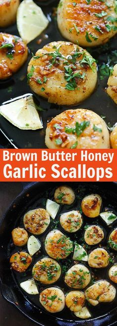 Brown Butter Honey Garlic Scallops – crazy delicious seared scallops with brown butter and honey garlic sauce. The best scallops recipe ever | rasamalaysia.com
