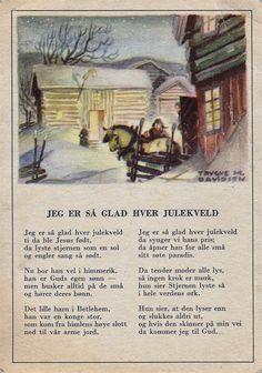 "Trygve M. Davidsen Fedrelandskort "" Jeg er så glad hver julekveld"""