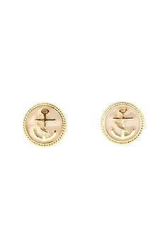 Ivory Nautical Button Earrings
