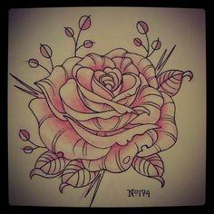 Tattoo Inspiration - lefty-laura: No. 174 rose #rose #tattooflash...