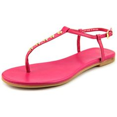 Cole Haan Effie Women Thong Sandals ($110) ❤ liked on Polyvore featuring shoes, sandals, pink, pink leather sandals, cole haan shoes, toe thongs, leather footwear and pink sandals