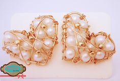 Código: zar-00014 Corazones rellenos de perlas cultivadas blancas. #Earrings