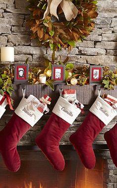 Christmas mantle inspiration - loving these red velvet stockings!