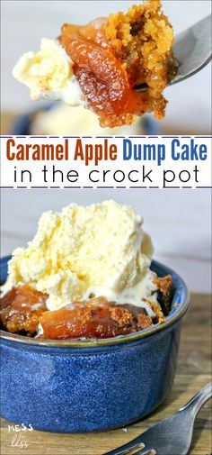 You probably know that a crock pot makes dinner prep a breeze, but did you know you can also use it to make simple and delicious desserts? This Crock Pot Apple Dump Cake with Salted Caramel is one of the easiest desserts you can make. Caramel Apple Dump Cake, Apple Dump Cakes, Dump Cake Recipes, Apple Cake, Crockpot Apple Dump Cake, Apple Cookies, Crockpot Asian Recipes, Sausage Crockpot Recipes, Crockpot Dump Recipes