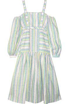 Gül Hürgel | Off-the-shoulder striped linen midi dress | NET-A-PORTER.COM