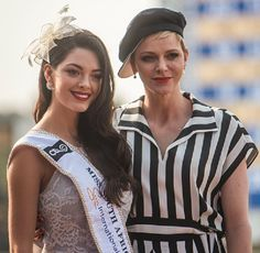 The new Miss SA, Demi-Leigh Nel-Pieters poses with Princess Charlene of Monaco (R) during the Princess Charlene Ladies Day at Turfontein Race course on April 2017 in Johannesburg, South Africa. Demi Leigh Nel Peters, The Joys Of Motherhood, Olympic Swimmers, Charlene Of Monaco, African Children, Princess Charlene, Beauty Pageant, Celebs, Celebrities