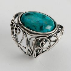 Turqouise ring, Sterling silver, blue gemstone, Medieval inspired, birthstone…