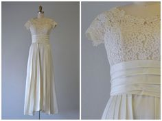 Vintage 1950's Romantic Ivory Satin and Lace by LedbellyVintage