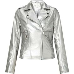 Miss Selfridge Silver Debbie PU Biker Jacket ($95) ❤ liked on Polyvore featuring outerwear, jackets, silver color, white biker jackets, polyurethane jacket, white jacket, distressed motorcycle jacket and distressed moto jacket