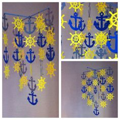 Blue, gray and yellow Nautical Crib Mobile on Etsy, $55.00