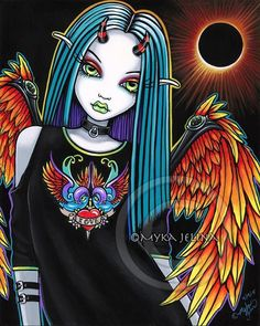 Gothic Eclipse Rainbow Angel Solar Fairy First Edition CANVAS Embellished 8x10 #MykaJelina #Eclipse #Angel