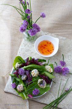 Chive Blossom Tempura Salad