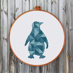 Geometric Penguin cross stitch pattern Modern by ThuHaDesign