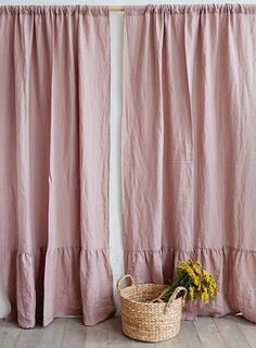 Linen curtain with ruffles. 12 colours. Linen window panel.