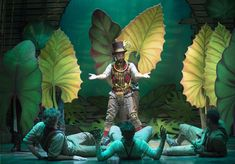 I like the giant leaves to show the jungle - Peter and the Starcatcher Lion King Musical, Lion King Jr, Set Design Theatre, Stage Design, Peter Pan Jr, James And Giant Peach, Peter And The Starcatcher, Peter And Wendy, Safari Theme Party