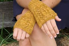 Hand-Knit Fingerless Gloves - Golden-Butterscotch colour- Merino / Cashmere / Silk - super-soft with intricate cable and lace pattern!