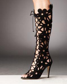 Manolo Blahnik : Kahika Lace-Up floral Cutout Boot | Sumally