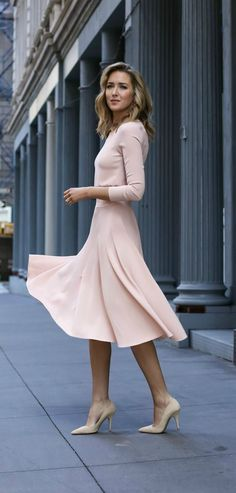 Pale blush pink midi dress with blouson top above ruched waist line, full circle flare skirt, nude suede classic pointy to pumps