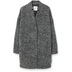 Mango Boucle coat (160 CAD) ❤ liked on Polyvore featuring outerwear, coats, grey, women, grey coat, grey boucle coat, mango coat, gray coat and long sleeve coat