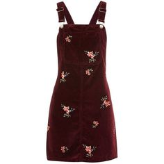 Topshop Moto Velvet Embroidered Pinafore Dress (205 BRL) ❤ liked on Polyvore featuring dresses, skirts, vestido, burgundy, red strappy dress, embroidered dress, burgundy red dress, floral embroidery dress and red velvet dress