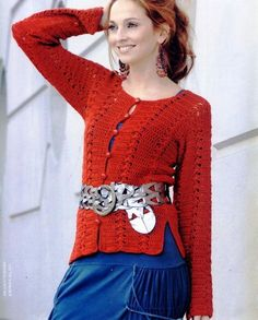 Crochetemoda: Crochet - Casaqueto Vermelho