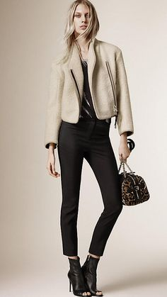 White Cropped Alpaca Wool Jacket by Burberry
