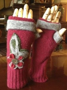 recycled sweater projects | Fingerless Wool Gloves made from Old Recycled Sweaters $28.