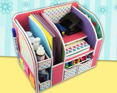 DIY: Beautiful Desk Organizer from Cardboard - Art & Craft Ideas Cardboard Organizer, Cardboard Crafts, Desk Organization Diy, Diy Desk, Diy Karton, Locker Decorations, Seashell Crafts, Toy Craft, Diy Box