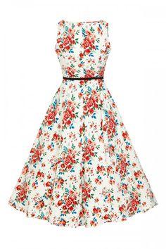 Lady Vintage 1950s Blossom Floral Hepburn Dress
