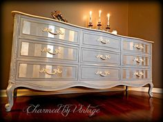 French Louis Blue Shabby Glam Drexel Dresser (RESERVED and SOLD to Penny). $1.00, via Etsy. #shabbychicdressersblue