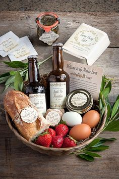 Farm to Table - Rustic Wedding Welcome Basket Idea Guest Welcome Baskets, Wedding Welcome Baskets, Guest Basket, Wedding Gift Baskets, Wedding Welcome Gifts, Wedding Gifts, Basket Gift, Wedding Table, Wedding Favors