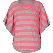 Striped Girls Top - Neon Pink