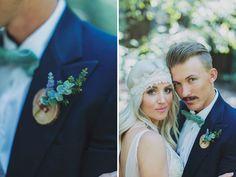 Bohemian wedding and woodland boutonniere