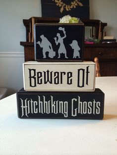 Disney haunted mansion hitchhiking ghost halloween decor stacking wood blocks distressed custom on Etsy, $26.95