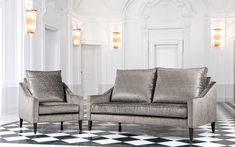 Meble do salonu-sofa i fotel Cygnus w srebrnej tkaninie obiciowej. Meble dostępne są w dowolnym kolorze. Sofa, Couch, Love Seat, Furniture, Home Decor, Drawing Rooms, Settee, Settee, Small Sofa