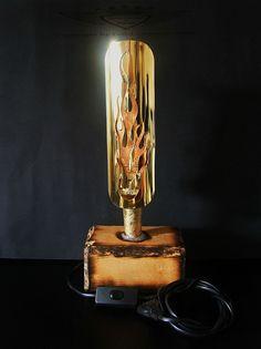 Designer Tischlampe, 24 Karat Blattgold, Tischleuchte Handarbeit, EDEL, Gold