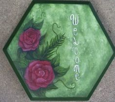 Hand painted stepping stone