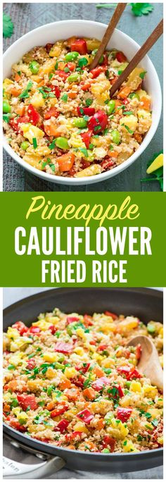 Easy Pineapple Cauliflower Fried Rice — Only 230 calories for a HUGE serving! Looks and tastes EXACTLY like regular fried rice but is healthy for you. Grain free, dairy free, low carb, and paleo. Reci