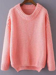 Pink Round Neck Dip Hem Knit Sweater -SheIn(abaday)