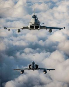 eyestothe-skies: RAF Typhoon and French Mirage Flying together Military Jets, Military Aircraft, Air Fighter, Fighter Jets, Jet Plane, Royal Air Force, Fighter Aircraft, Armed Forces, Airplanes